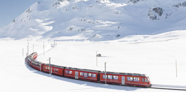 Train through Switzerland mountains